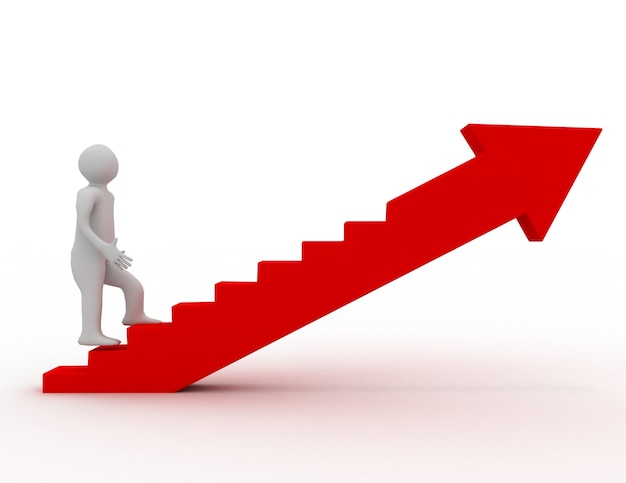 Homem 3d na escada. conceito de sucesso