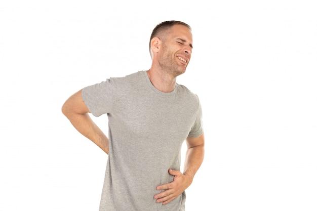 Homem adulto, com, dor traseira