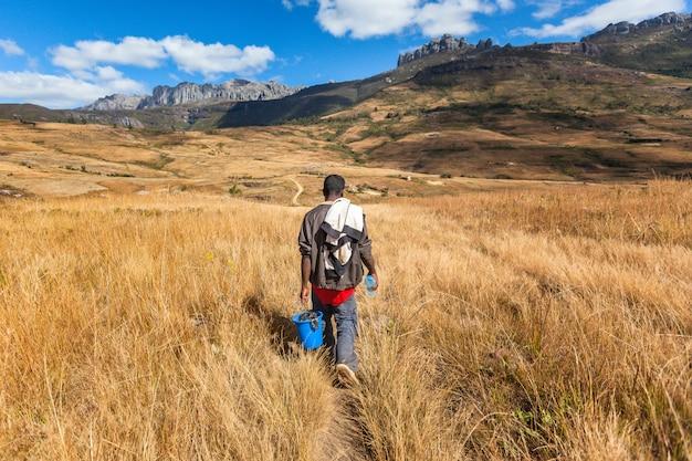 Homem africano cárie cesta pesada no parque nacional de andringitra.