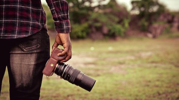 Homem africano, photograpy, segurando a câmera
