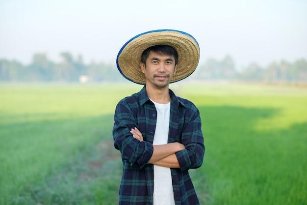Homem agricultor asiático com chapéu em pé e poses com os braços cruzados na fazenda de arroz verde.