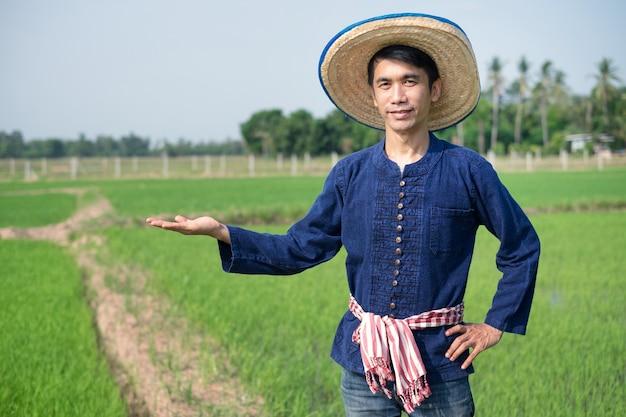 Homem agricultor asiático usa traje tradicional em pé e pose levantada com a mão na fazenda de arroz verde.