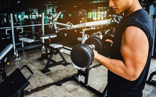 Homem asiático fisiculturista espera exercícios com peso haltere