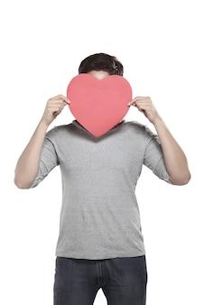 Homem asiático, segurando, coração vermelho