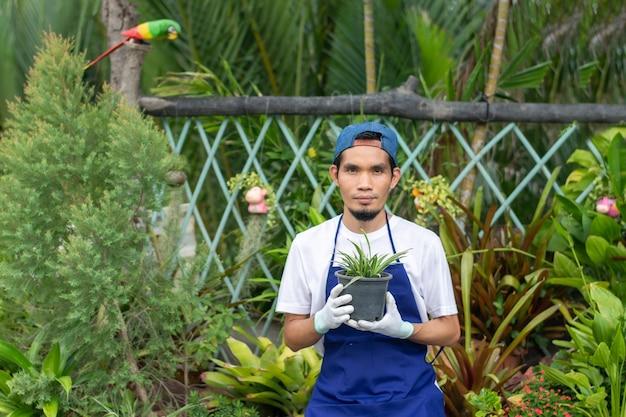 Homem asiático trabalhando em uma loja de jardinagem