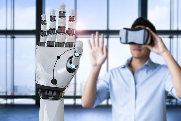 Homem asiático usando fone de ouvido vr e controle de mão de robô de renderização 3d