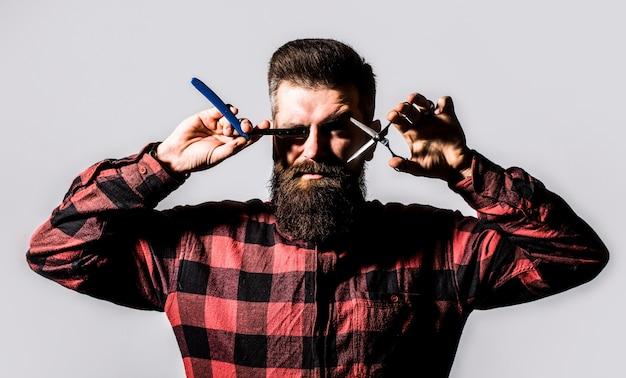 Homem barbudo, homem barbudo. retrato de barba de homem elegante.