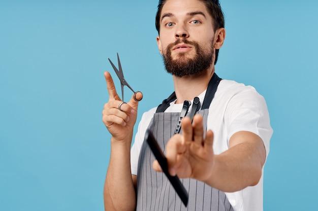 Homem barbudo penteado moderno profissional