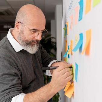 Homem barbudo tomando notas do projeto