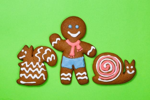 Homem-biscoito de natal com esquilo e caracol em fundo verde