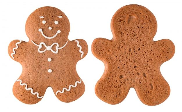 Homem-biscoito isolado no branco