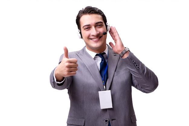 Homem bonito com fone de ouvido isolado no branco