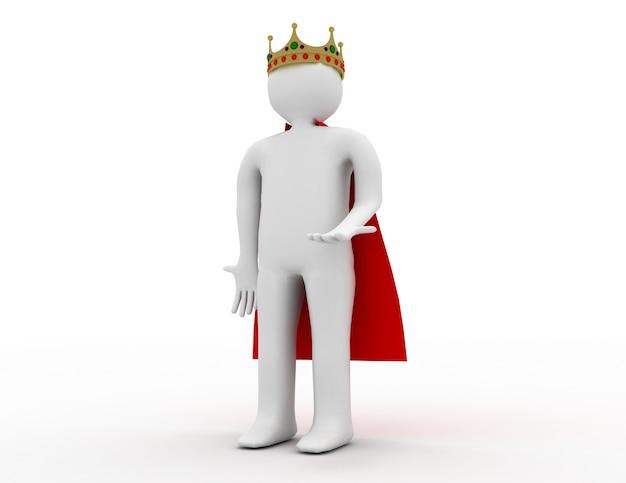 Homem branco 3d com uma coroa. ilustração renderizada 3d