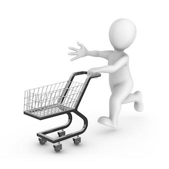 Homem branco renderizado 3d com um carrinho de compras