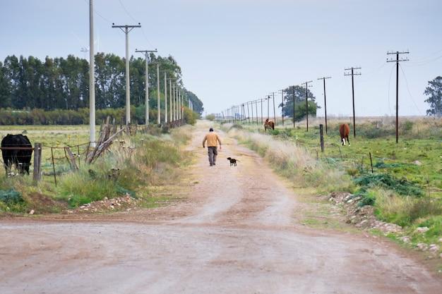 Homem caminhando com seu cachorro por uma estrada deserta