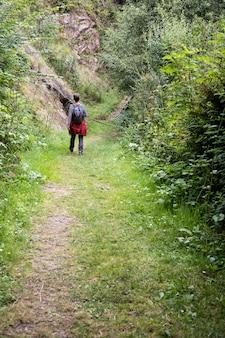 Homem caminhando na natureza