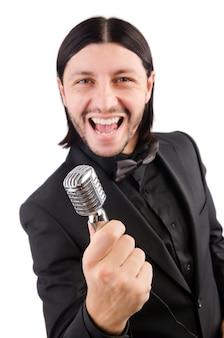 Homem, cantando, karaoke, clube
