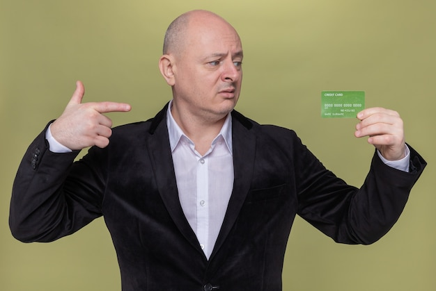 Homem careca de meia-idade de terno segurando um cartão de crédito apontando com o dedo indicador para ele com expressão confusa em pé sobre a parede verde