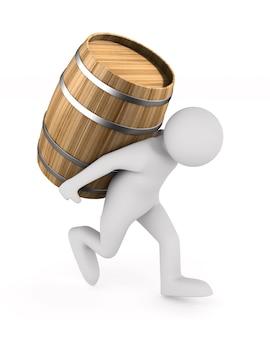 Homem carrega barril isolado em ilustração 3d em branco