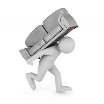 Homem carrega sofá cinza no espaço em branco. ilustração 3d isolada