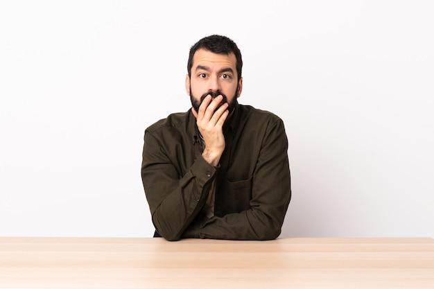 Homem caucasiano com barba em uma mesa surpreso e chocado ao olhar certo.