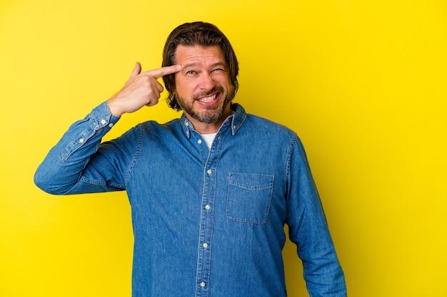 Homem caucasiano de meia-idade, isolado em um fundo amarelo, mostrando um gesto de decepção com o dedo indicador.