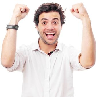 Homem, celebrando, um, vitória, ligado, um, fundo branco