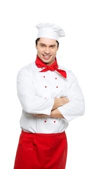 Homem chef em um branco.