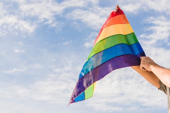 homem, com, bandeira grande, em, lgbt, cores, e, céu azul