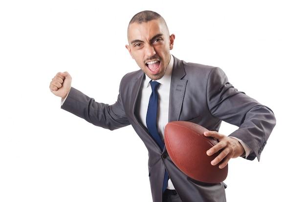 Homem, com, bola futebol americano, isolado, branco