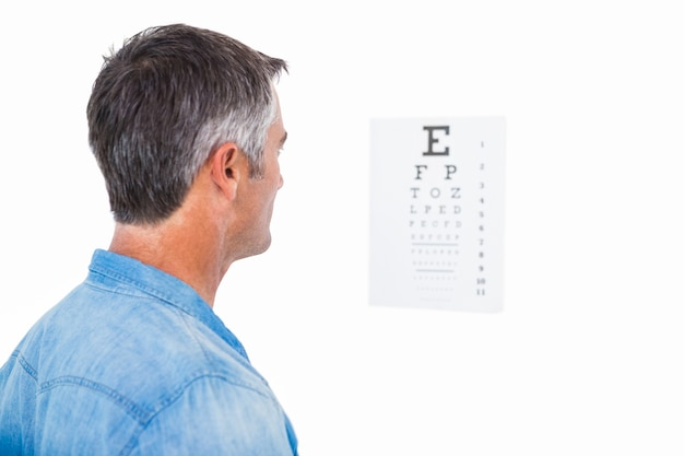 Homem com cabelo cinza fazendo uma prova de olho