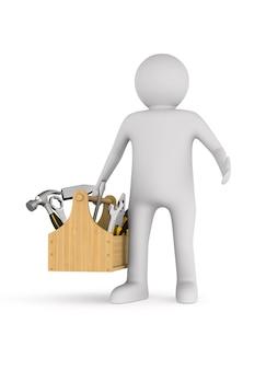 Homem com caixa de ferramentas em fundo branco. ilustração 3d isolada