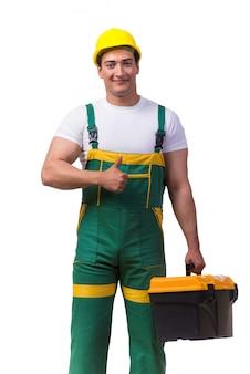 Homem, com, caixa ferramentas, isolado, ligado, a, fundo branco