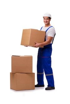 Homem, com, caixas, isolado, branco