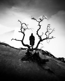 Homem com capa de chuva e uma árvore preta seca
