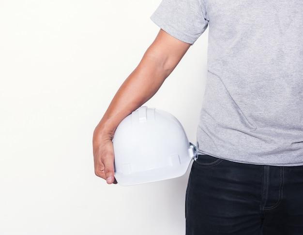 Homem, com, capacete, chapéu duro, isolado, branco