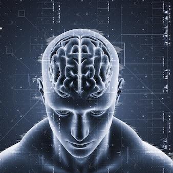 Homem, com, cérebro, destacado