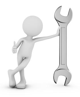Homem, com, chave 3d render