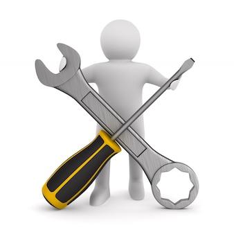 Homem com chave de fenda e chave de fenda no espaço em branco. ilustração 3d isolada