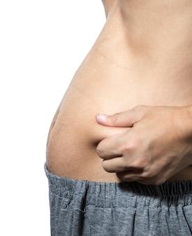 Homem com excesso de peso aperta o excesso de gordura ao redor da cintura