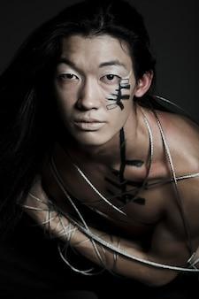 Homem com fio de aço