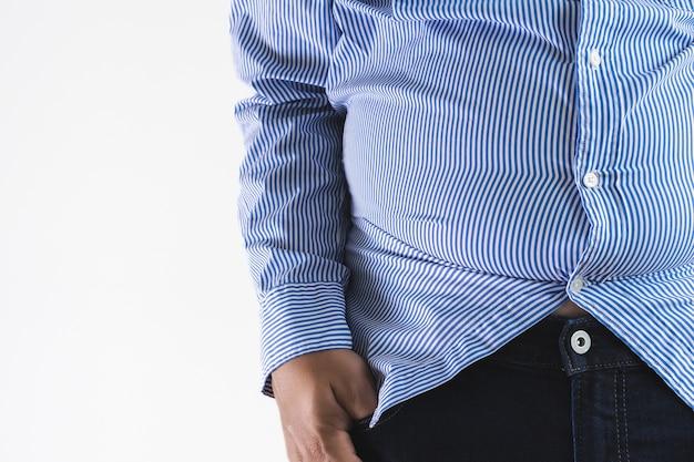 Homem, com, gorda grande, gorda, barriga, gordinho