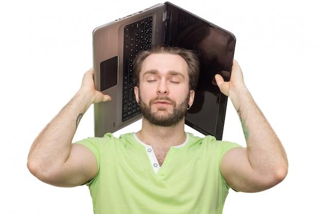 Homem, com, laptop, ligado, seu, cabeça