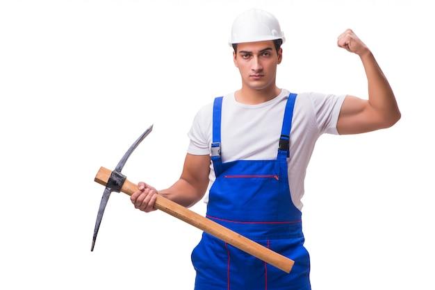 Homem com machado isolado no branco