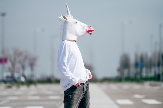 Homem com máscara de unicórnio posando