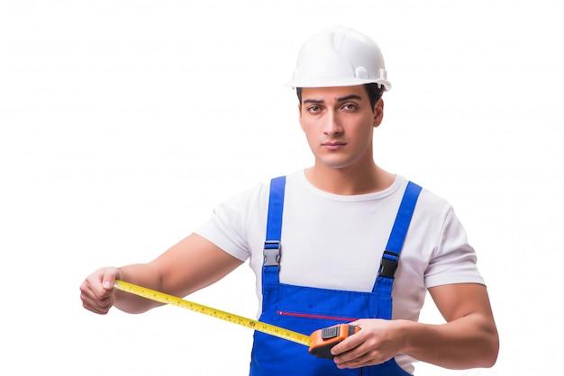 Homem, com, medida fita, isolado, branco