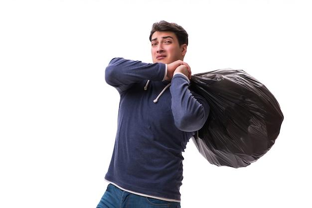 Homem, com, saco lixo, isolado