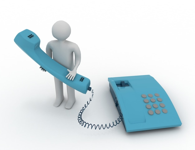 Homem com telefone. conceito 3d
