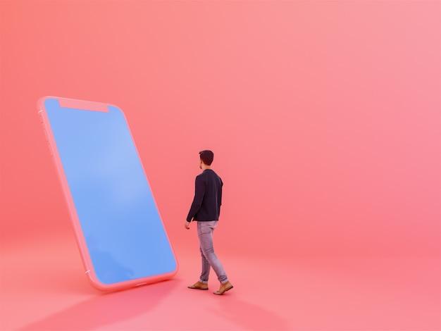 Homem, com, telefone móvel