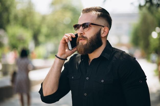 Homem, com, telefone
